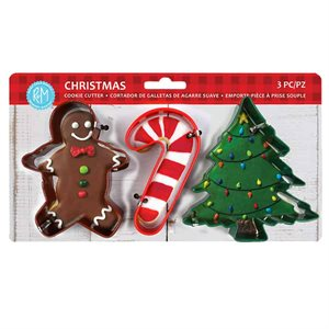Christmas Color Cookie Cutter Set 3pc (Carded)