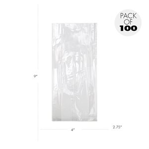 Cellophane Bags  4 X 2 3 / 4 X 9 Inch- Pack of 100