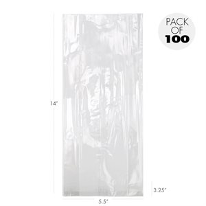 Cellophane Bags 5 1 / 2  X 3 1 / 4  X 14 Inch Heavyweight Pack of 100