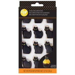 Black Cat Royal Icing Decorations - 10ct