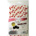 Red Hearts Cake Pop Sticks- 6 Inch -Pack of 25