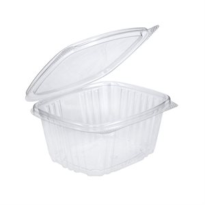 Rectangular Clear Plastic Hinged Container 6 Ounce