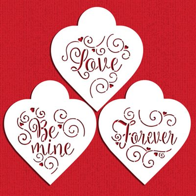 Love,Be Mine,Forever Hearts Cookie Stencil By Designer Stencils
