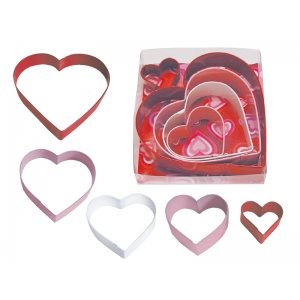 Hearts Cookie Cutter Set Poly Resin 5 Pcs.