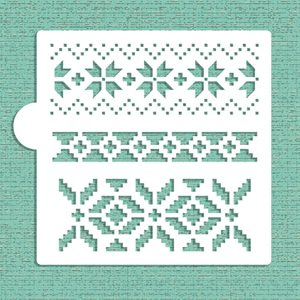 Fair Isle Patterns Cookie Stencil