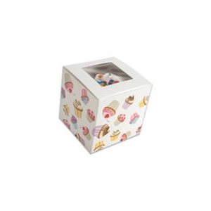 "Cupcake Standard Cupcake Box 4"" x 4""x 4"" w /  Square Window-"