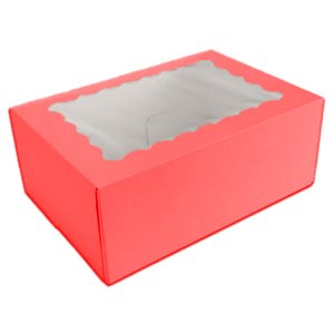 Red Cupcake Box Holds 6 Standard Cupcakes