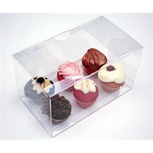 Clear Mini Cupcake Box Holds 6 w /  Insert