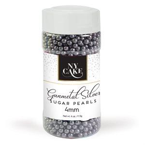 Gunmetal Sugar Pearls 4 mm