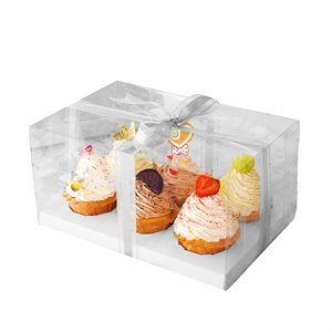 Clear Cupcake Box w /  White Base 6 Cavity