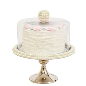NY Cake Silver Stand w / Pearls 11""