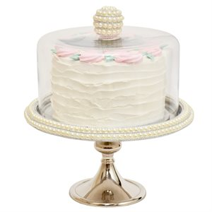 NY Cake Silver Stand w / Pearls 12 1 / 4""