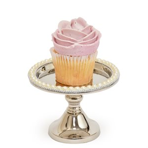"""NY Cake Silver Stand w / Pearls 5"""""""