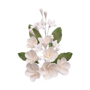 White Plumeria Spray Sugar Flowers