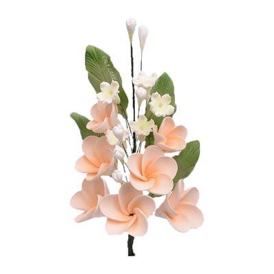 Peach Plumeria Spray Sugar Flowers