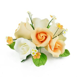 Peach Garden Rose Bouquet Sugar Flowers