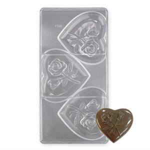 Rose Heart Polycarbonate Chocolate Mold