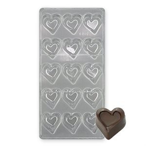 Curved Heart Polycarbonate Chocolate Mold