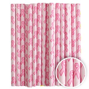 Pink Ribbon Cake Pop Sticks- 6 Inch -Pack of 25