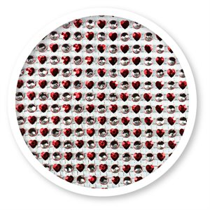 Red Hearts & Silver Dots Rhinestone Cake Bling 10 Yards