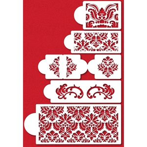 5 Tier Damask Stencil Set