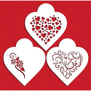 Contemporary Hearts Cookie Stencil
