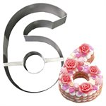 """Stainless Steel Number Mold """"6""""- 8 1 / 2"""" x 5 1 / 2"""" x 2"""" Deep"""