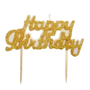 Gold Glitter Happy Birthday Candle