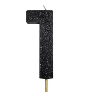 Black Glitter Number 1 Candle 4""