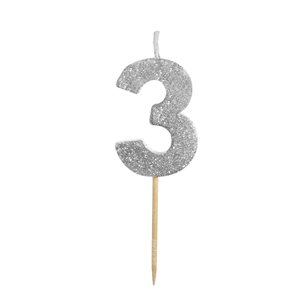 """Silver Glitter Number 3 Candle 1 3 / 4"""""""