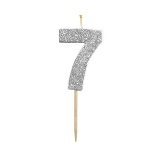 Silver Glitter Number 7 Candle 1 3 / 4""