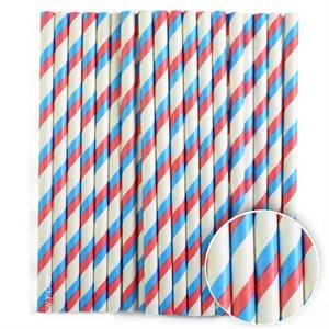 Red & Blue Stripe Cake Pop Sticks- 6 Inch -Pack of 25