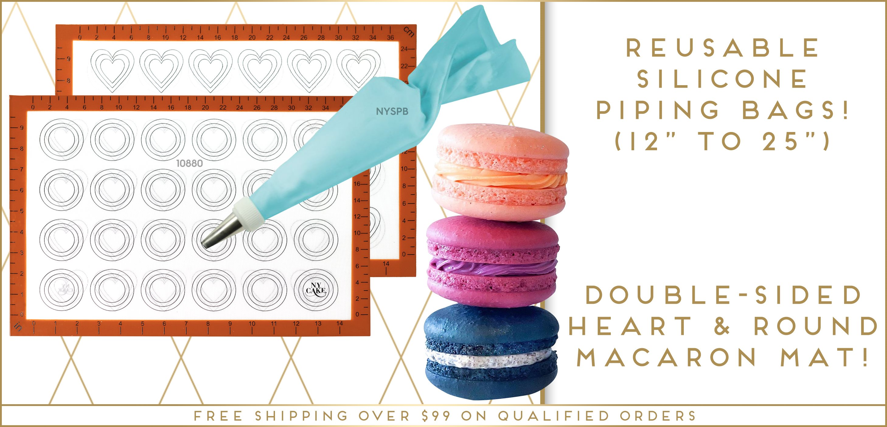 Double Sided Heart Round Macaron Macaroon Silicone Baking Mat