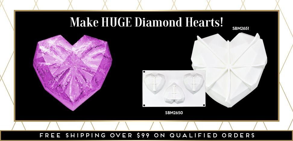 Gem Diamond Heart Silicone Baking Mold