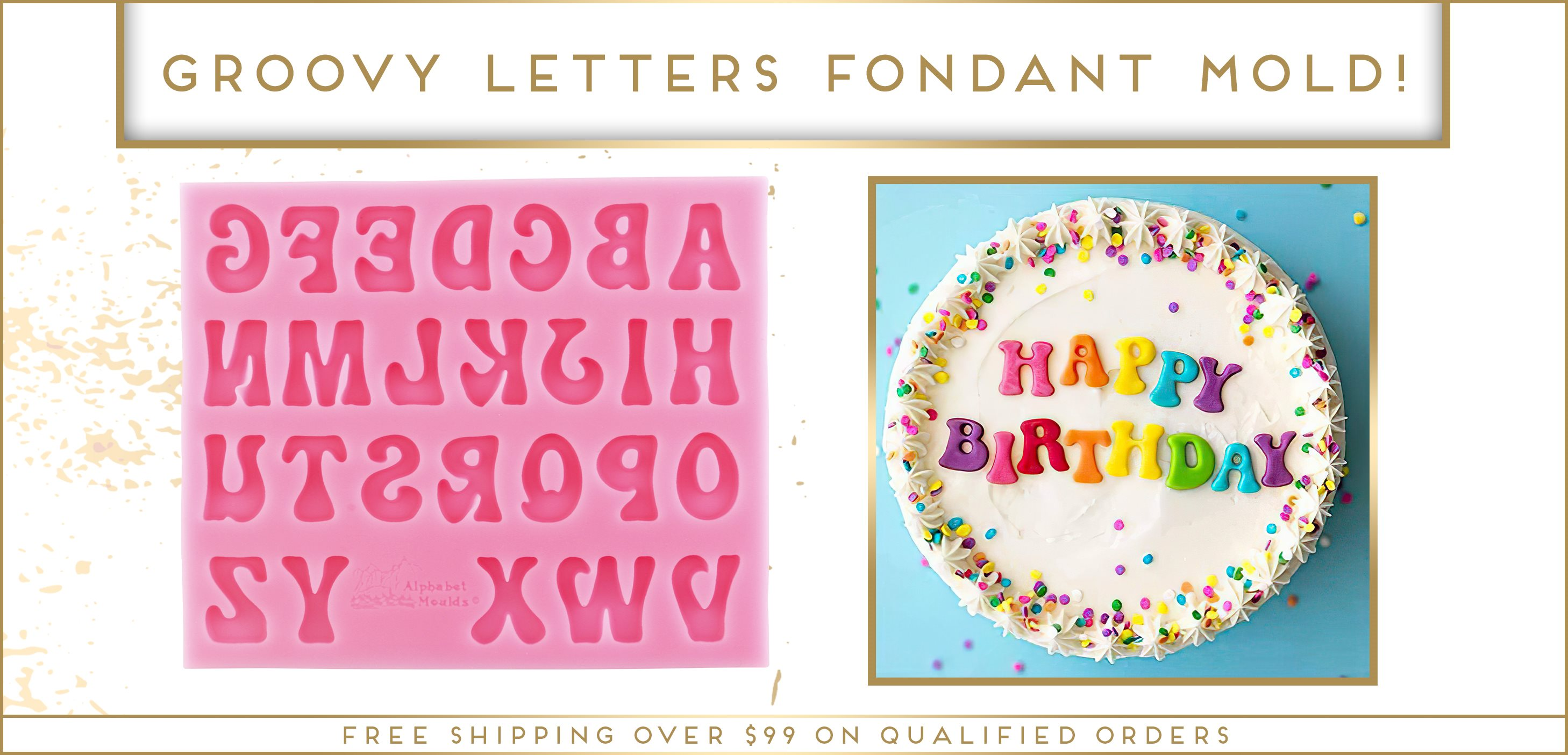 Groovy Letters Alphabet Fondant Silicone Mold