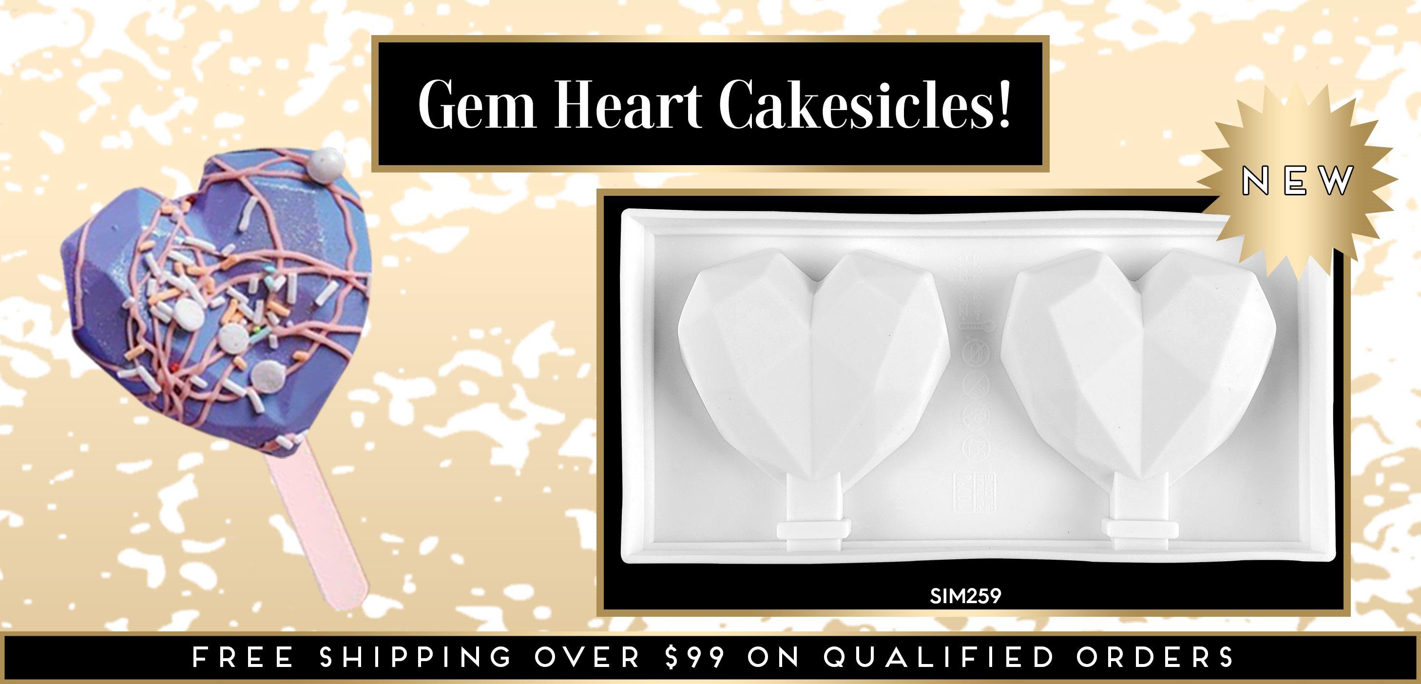 Cakesicle Popsicle Gem Geometric Diamond Heart Silicone Mold